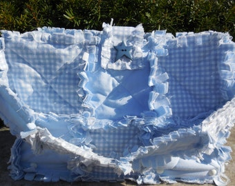 Baby Blue Wooden Bottom Rag Quilt Purse!!! Ready Made, Ready to Ship!!!