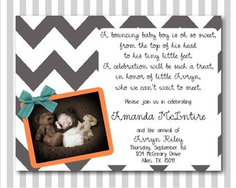 Baby Boy Chevron Shower Invitation