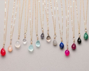 Delicate Bridesmaid Necklace / Gold Birthstone Necklace in 14K Gold Fill, Rose Gold, Sterling Silver / Gemstone Bridesmaid Necklace LN604