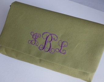 Olive green clutch purse with lovely monogram in purple script