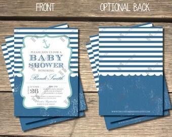 Sweetly Nautical Baby Shower Invitation- 5x7