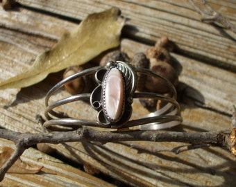 ON SALE Sterling Silver and Pink Mother of Pearl Cuff Bracelet