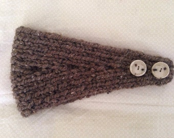 Brown Barley Knit Headband Ear Warmer (custom colors also available)