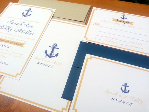 "Nautical Wedding Invitation/RSVP Set - ""Gilligan"" - Digital File"