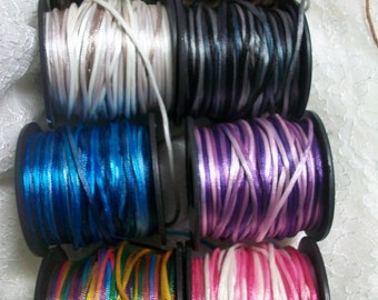 Rat Tail Cord 2mm variegated colors, 5yard pc. for Sewing Projects, Crafts and Friendship Bracelets