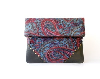 Paisley Foldover Clutch Purse, indian cashmere and real leather clutch bag, turquoise and red purse