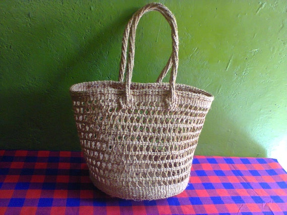 Kenyan Handmade Baskets : Kenya basket tribal safari sisal basketcream by