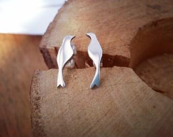 Silver Bird Earrings, Gift for her, Day wear Earrings, Casual Earrings, Stud Earrings, Animal Earrings, Bird Lover Gifts, Animal Gifts,