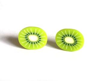 Kiwi Fruit Earrings, Kiwi Fruit Studs, Cute Earrings, Kiwi Earrings, Kiwi Fruit Posts, Everyday Studs, Fruit Earrings, Stocking fillers