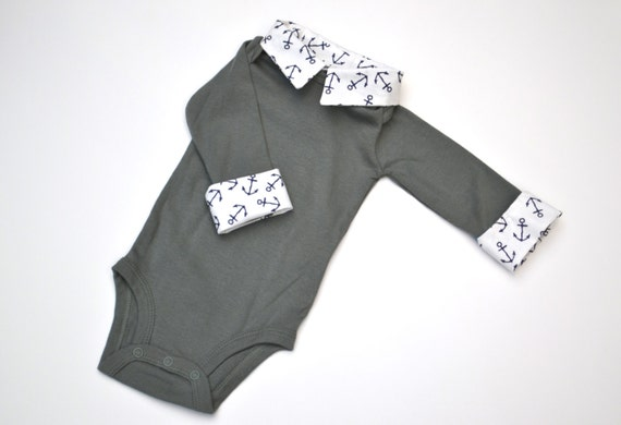 Preppy Baby Boy Onesie, Nautical Green with Navy Anchors, Long Sleeve Button Down with Collar