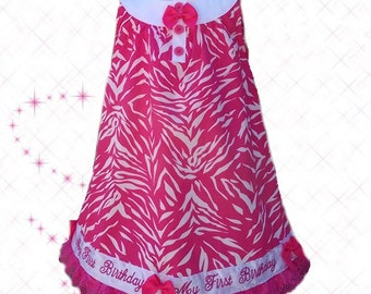 18 mo wild and adorable sleeveless dress features an all-over pink zebra print First Birthday Dress