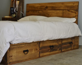 20 off rustic wood platform storage bed with drawers pulls and headboard buenos aires