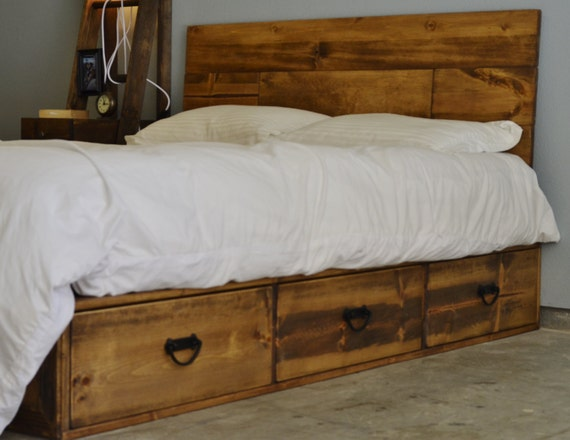 Rustic Wood Platform Storage Bed With Drawers Pulls And