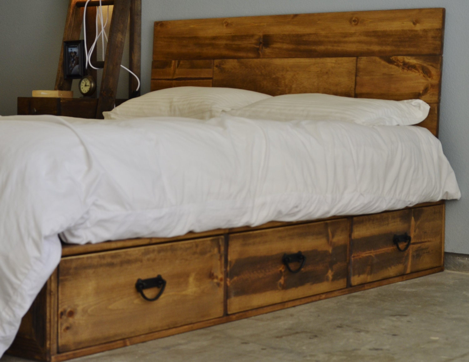 Sale off rustic wood platform storage bed with drawers