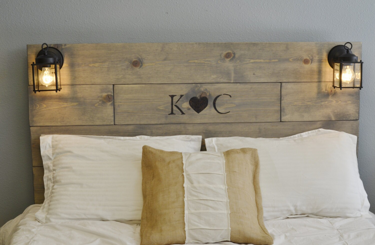 Rustic Wood Headboard With Custom Wood Engraved Initials And