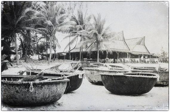 Vietnamese Round Fishing Boats in Mui Ne. Vietnam. Travel Photography. Black & White Print by OneFrameStories.
