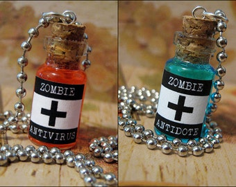 Zombie Antidote & Anti-Virus 1ml Glass Bottle Necklace CharmSet - Zombie Cure Vial Set - Zombie Virus