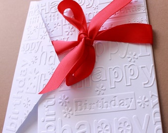 Embossed Happy Birthday Cards Set of 8, Embossed Cards, Happy Birthday Cards, Note Card Set, Birthday Stationery, Birthday Party