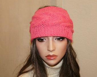 Knitting Headband Ear warmer Women Accessories Pink Coral Headband Dreadlook