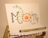 "Mother's day Card - Hand drawn, mom with flower, 5"" x 7"", doodle, blank card, handmade, ooak"