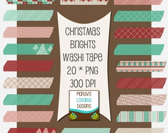 Christmas Brights Washi Tape - Digital Scrapbooking - Clip Art - Cards Invitations - 20 Pieces - 300 DPI - CU OK