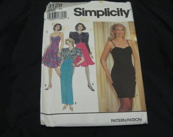 Simplicity 8128 Misses Size D (4 - 8)  Dress and Jacket UNCUT pattern 1992