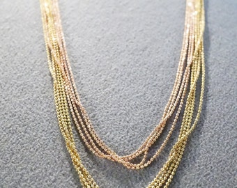 Vintage Yellow Rose Gold Tone 8 Strand Ball Chain Link Necklace Adjustable