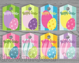 Easter Eggs Printable Gift Tags Colorful Candy Gift Wrapping Label Spring Multi Colored Instant Gift Tags Download