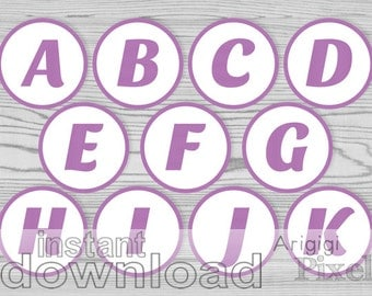 purple letter number party circles printable 2.5 in alphabet circles cupcake topper favor tag banner download