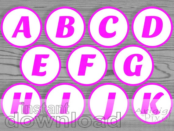party circle 2.5 in magenta white printable alphabet circle number letter DIY favor tag cupcake topper table number download