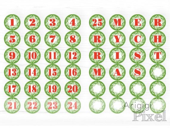 Printable Advent Calendar Number 1-25 and Letters MERRY