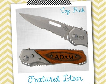 1 PERSONALIZED Knife Groomsmen Gifts Engraved Knife Engraved Pocket Knife Hunting Knife Wood Knife Custom Groomsman Gifts Gift for Men