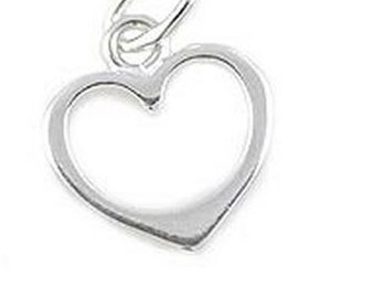 925 Sterling Silver Heart Charm, 12 x 10 mm , 1 Piece, Made in USA