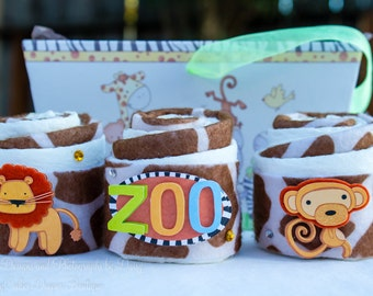 Safari Baby Shower Gift, Zoo Diaper Cupcakes, Mini Diaper Cake Gift Basket
