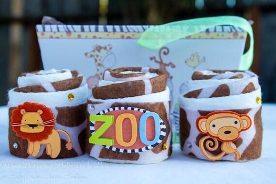 Safari Baby Shower Gift | Zoo Diaper Cupcakes | Mini Diaper Cake Gift Basket
