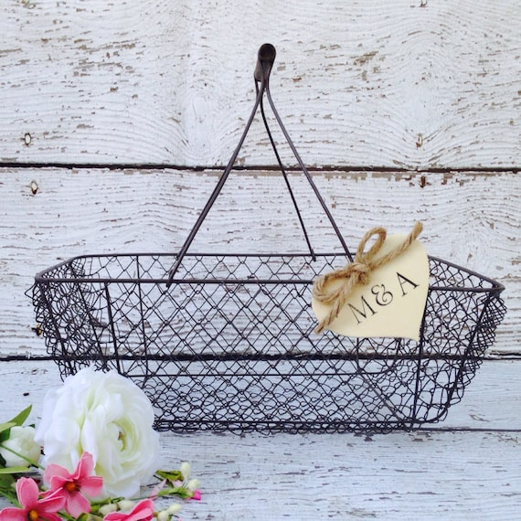 Wedding Card Basket, Rustic Chic Wedding, Rustic Card Box - Personalized, Wooden Heart Banner // CH11