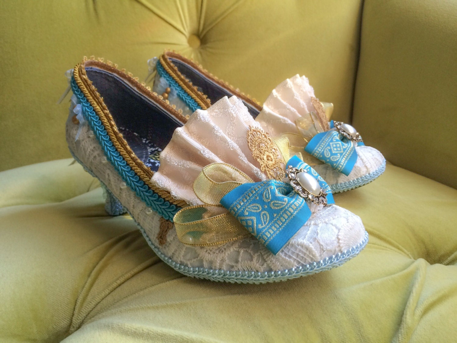 Marie Antoinette Costume Shoes Ivory Lace Gold Turquoise Blue