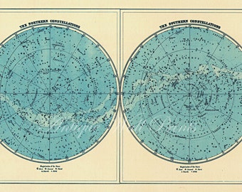 Pastel Blue Double Star Map - Art Print