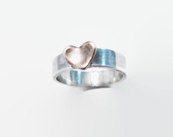 Personalized 5mm initial handmade Sterling Silver copper Heart ring, oxidized, rustic vintage look, mixed metal, bead wire, stack ring