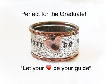 Graduation Gift For Her,Personalized Ring,Rustic Ring,Mixed Metal Stack Set,Message Ring,Copper Heart,Inspirational Gift,Hand Stamped