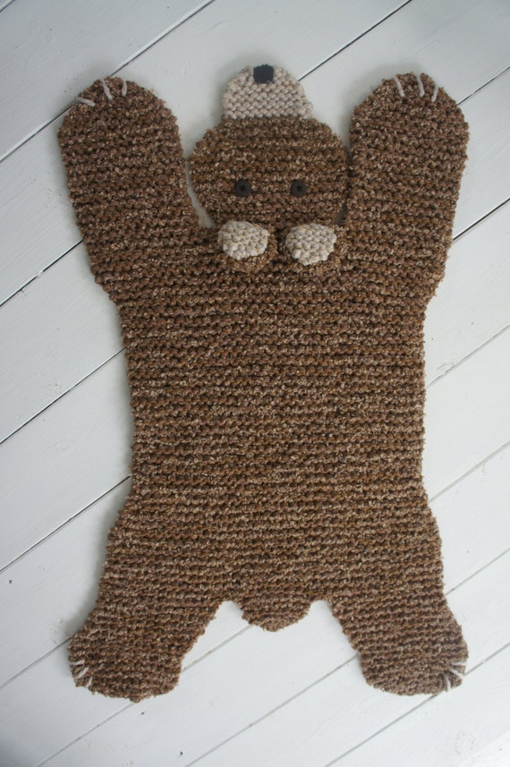 Bear Rug Knitting Pattern : Hand knit inch brown bear rug mat blanket