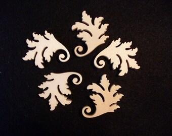 5 leaf ornaments, 4 x 3 cm (01-0003B)