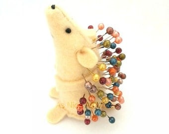 Pin Cushion Hedgehog, handmade from felt, Caramel coloured, comes with colourful pins, ideal gift for sewer, for her
