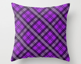 Purple Plaid Pillowcase, Tartan Throw Pillow Cover, Scottish Plaid Pattern