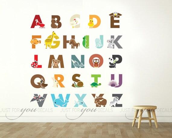 alphabet nursery wall decal playroom wall decal