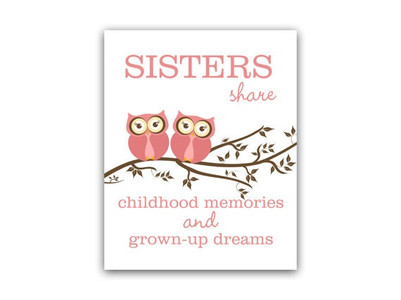 Wall Art Quotes For Sisters : Sisters quote art instant download wall owl