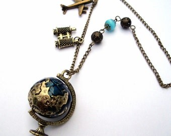 Globe travel necklace, airplane, binoculars charm, bronze and blue beaded, vintage style