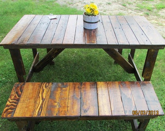 5' Rustic Kitchen Table & 2-Bench Set, Reclaimed Wood Table, Kitchen Table, Patio Table, Picnic Table, Restaurant Table, Barn Wood,