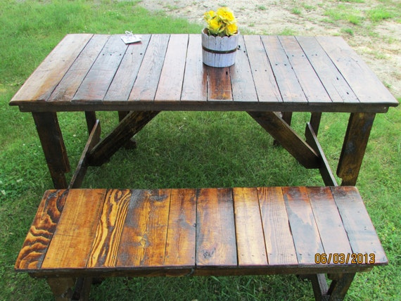 539 rustic kitchen table 2 bench set reclaimed wood for Barnwood outdoor table