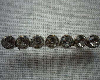 Beautiful Vintage Clear Rhinestone Silver Tone Bar Pin Brooch